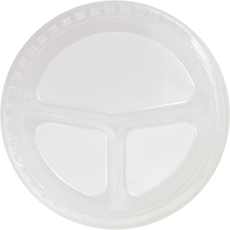 Solid Clear Divided Plastic Banquet Plates 20pk
